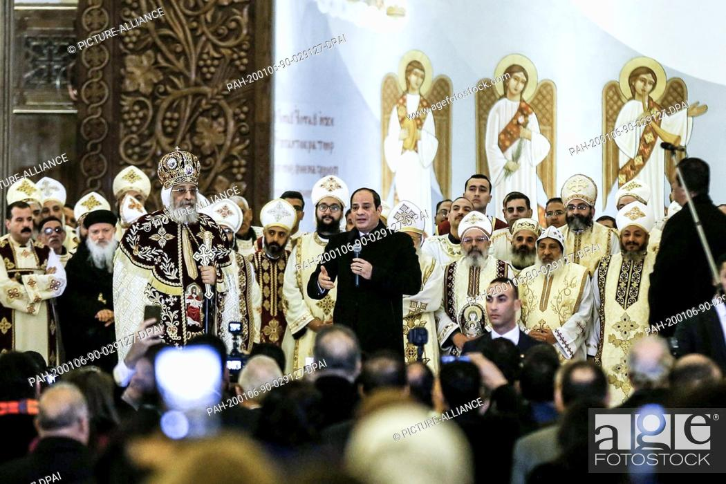 Stock Photo: 06 January 2020, Egypt, Cairo: Egyptian President Abdel Fattah el-Sisi..delivers a speech, next to Pope Tawadros II of Alexandria and Patriarch of the See of St.