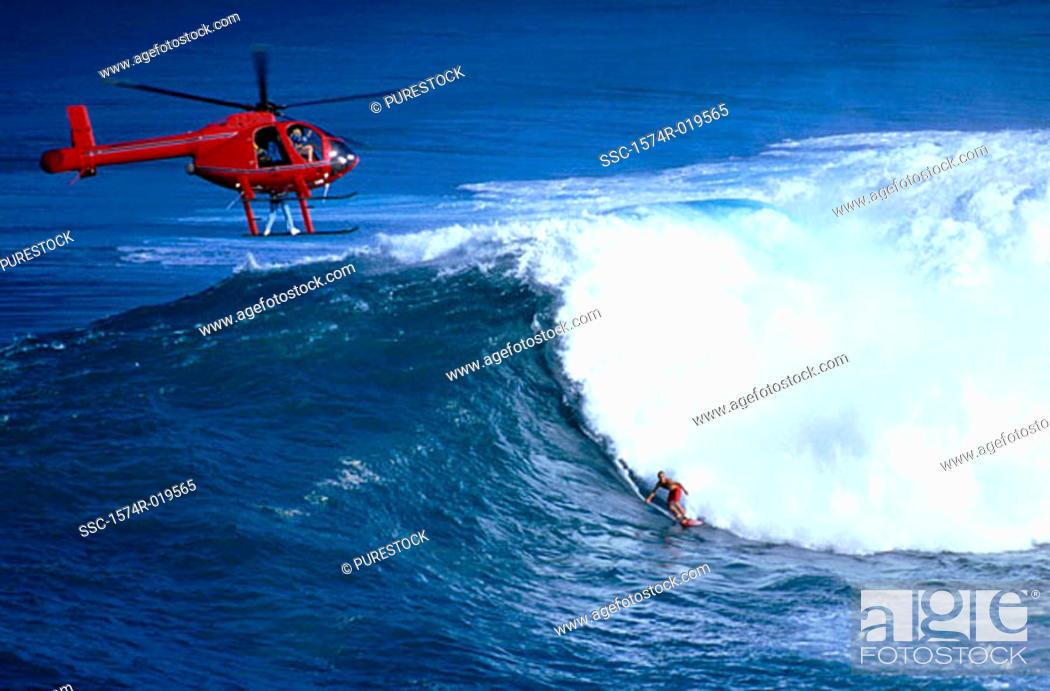 Stock Photo: Surfing at Jaws Hawaii USA.