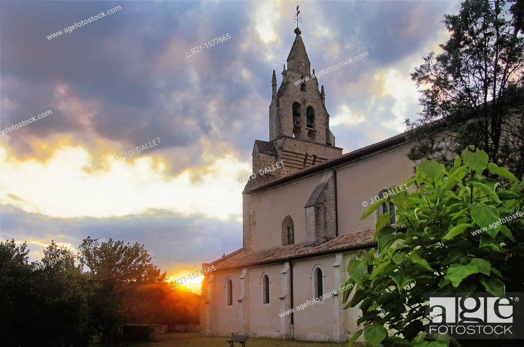 Stock Photo: Pilgrimage way to Santiago de Compostela: church at Sabres, Landes, Aquitaine, France.