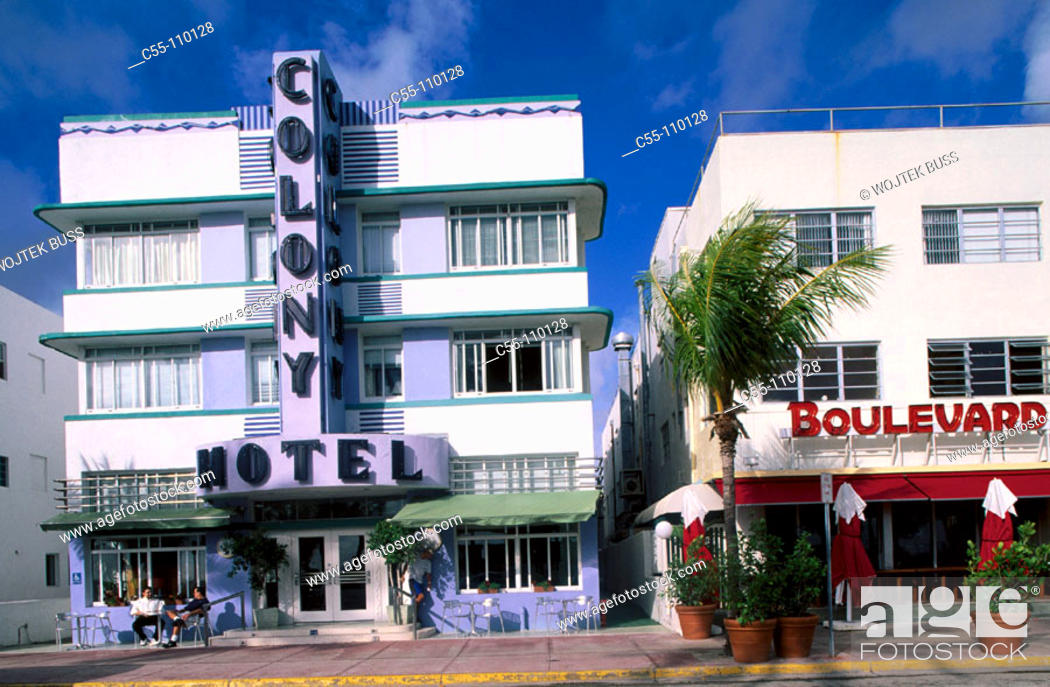 Stock Photo: Art Deco Area. Ocean Drive. Miami Beach. Florida. USA.