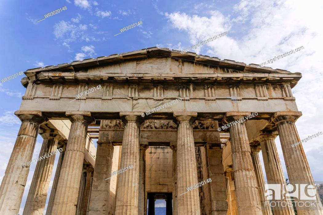 Stock Photo: View of Temple of Hephaestus at the Ancient Agora of Athens, Greece, Europe.