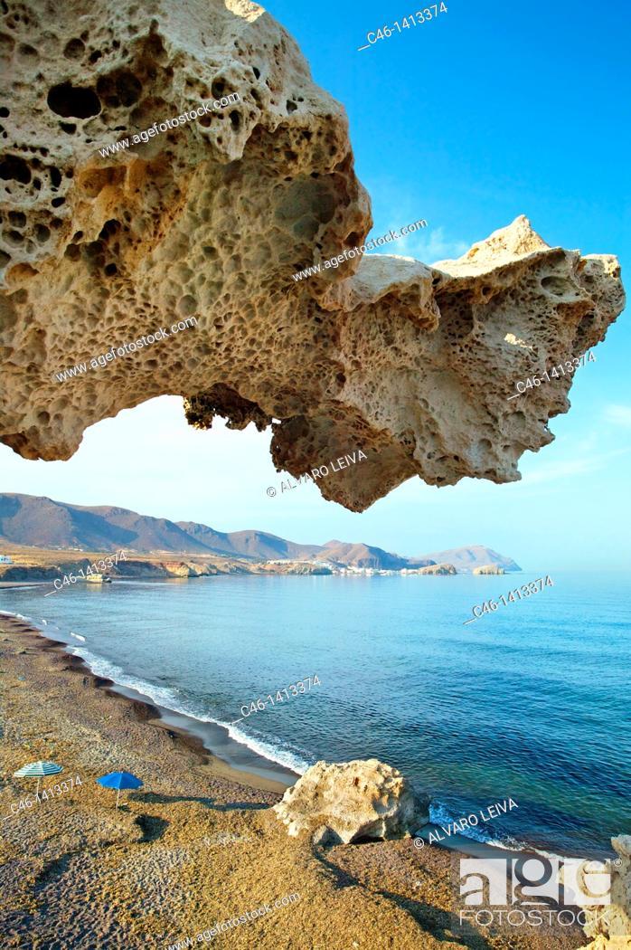 Stock Photo: Playa del Arco, Los Escullos  Natural Reserve of Cabo de Gata-Ni'jar  Almeri'a province  Andalusia  Spain.