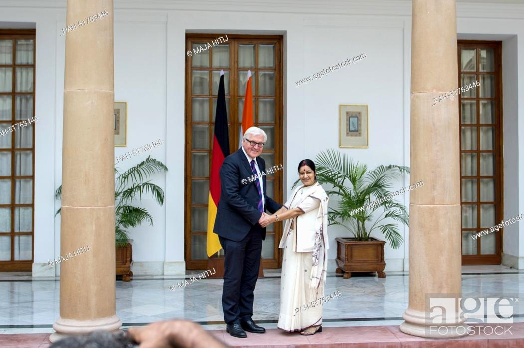 Stock Photo: Indian Foreign Minister Sushma Swaraj greets German Foreign Minister Frank-Walter Steinmeier (SPD) in New Delhi, India, 08 September 2014.