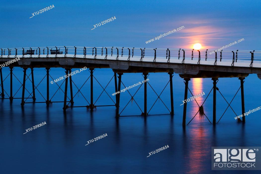 Stock Photo: Moonrise at Saltburn Pier Saltburn by the Sea Redcar and Cleveland England.