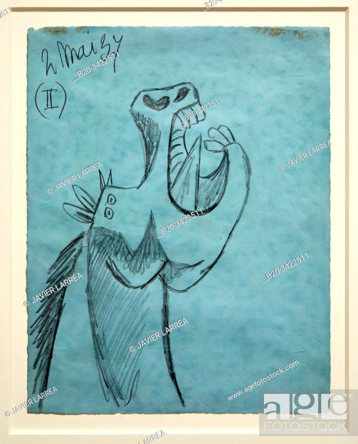 """Stock Photo: """"""""""""Étude pour la tête de cheval (II). Dessin préparatoire pour """"""""Guernica"""""""" """""""", 1937, Pablo Picasso, 1881-1973, Musée de l'Armée, Paris, France."""