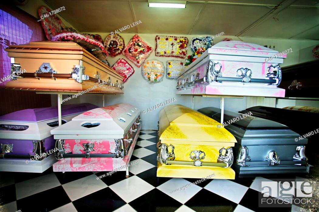 Coffins at a funeral home, Port Antonio, Jamaica, West