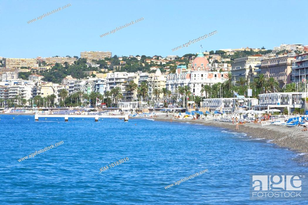 Stock Photo: Beach and Coastline in Nice, Provence-Alpes-Cote d'Azur, France, Europe.