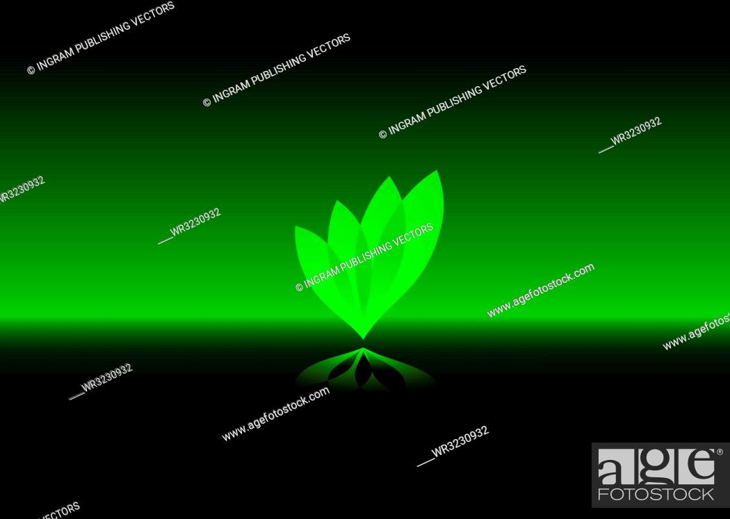 Stock Vector: Abstract eco leaf design in green and black.