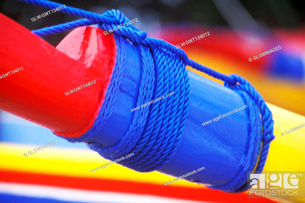 Stock Photo: Close-up of a rope tied to a boat, Bali, Indonesia.