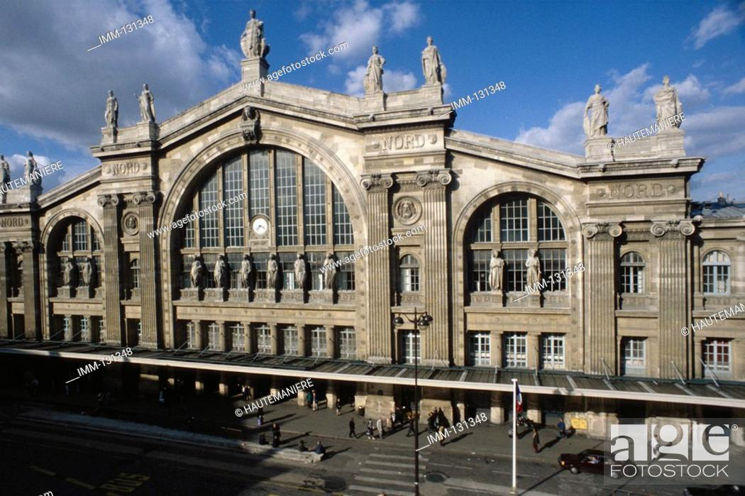 Stock Photo: Paris, a Detailed View Gare du Nord 1867 train station by Hittorf, Napoleon III square.