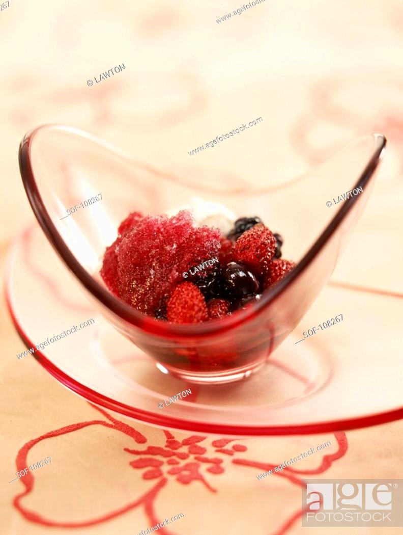 Stock Photo: Pan-fried summer fruit with sangria sherbet ice.