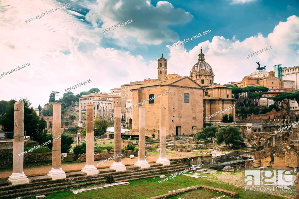 Stock Photo: Rome, Italy. Temple Of Peace And Basilica Aemilia In The Roman Forum. Santi Luca E Martina Church And Senatorial Palace. UNESCO World Heritage Site.