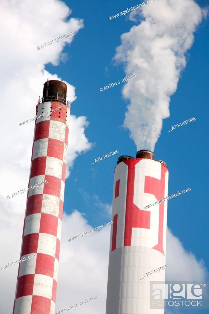 Stock Photo: Smokestack , chimney , switzerland.