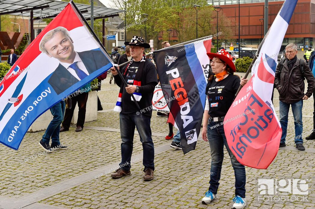 Stock Photo: Tilburg - Netherlands - 07-05-2017 - The anti-Islamic movement Pegida met in Tilburg on Sunday afternoon to argue against the construction of a new mosque for.