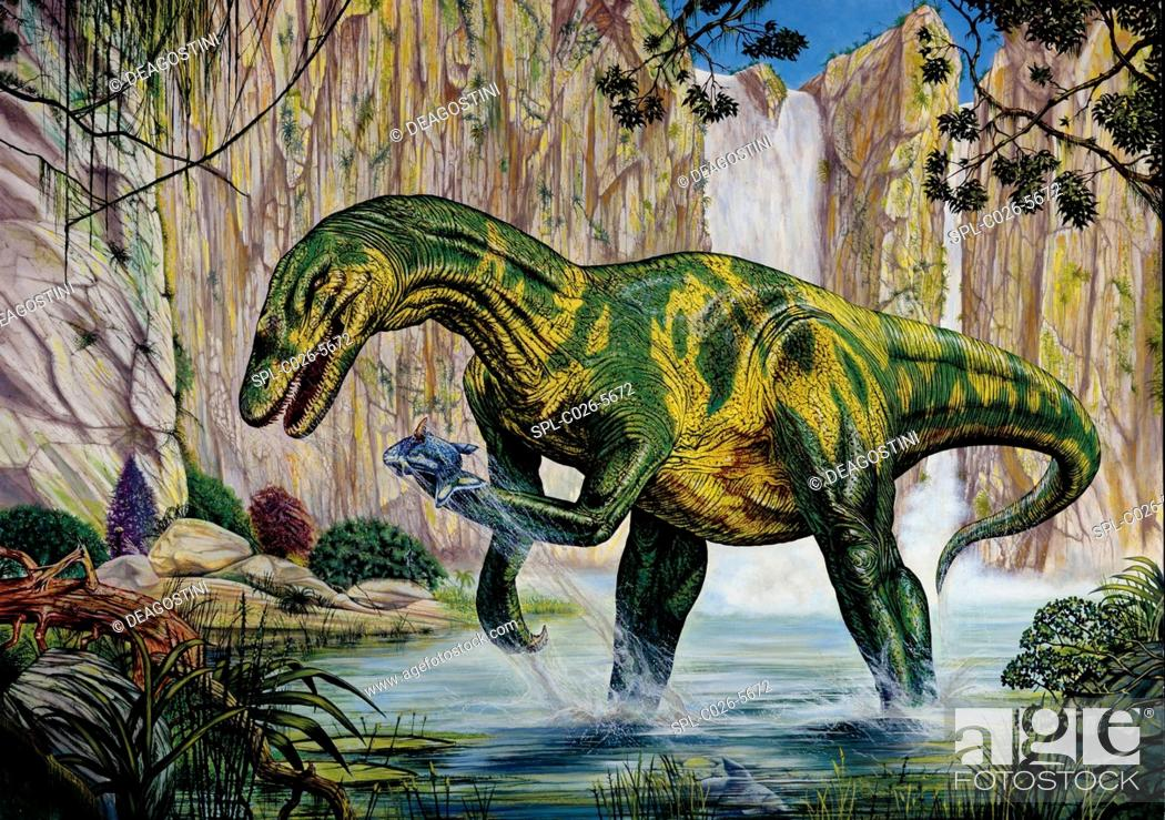Stock Photo: Baryonyx dinosaur fishing. Computer illustration of a Baryonyx sp. dinosaur fishing by a prehistoric waterfall. This fish-eating theropod lived around 130.