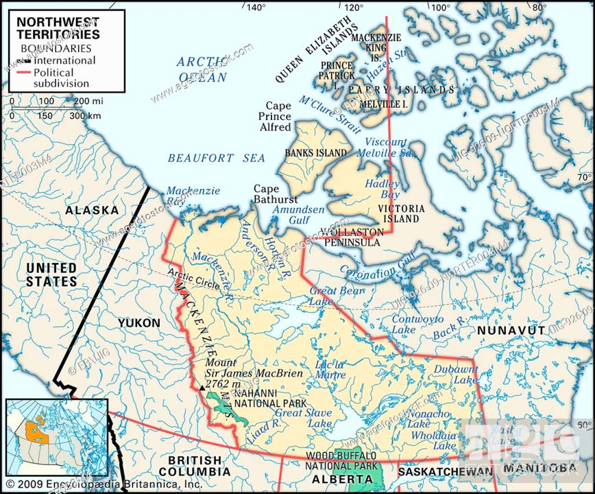 Northwest Territories Canada Map.Physical Map Of Northwest Territories Canada Showing Major