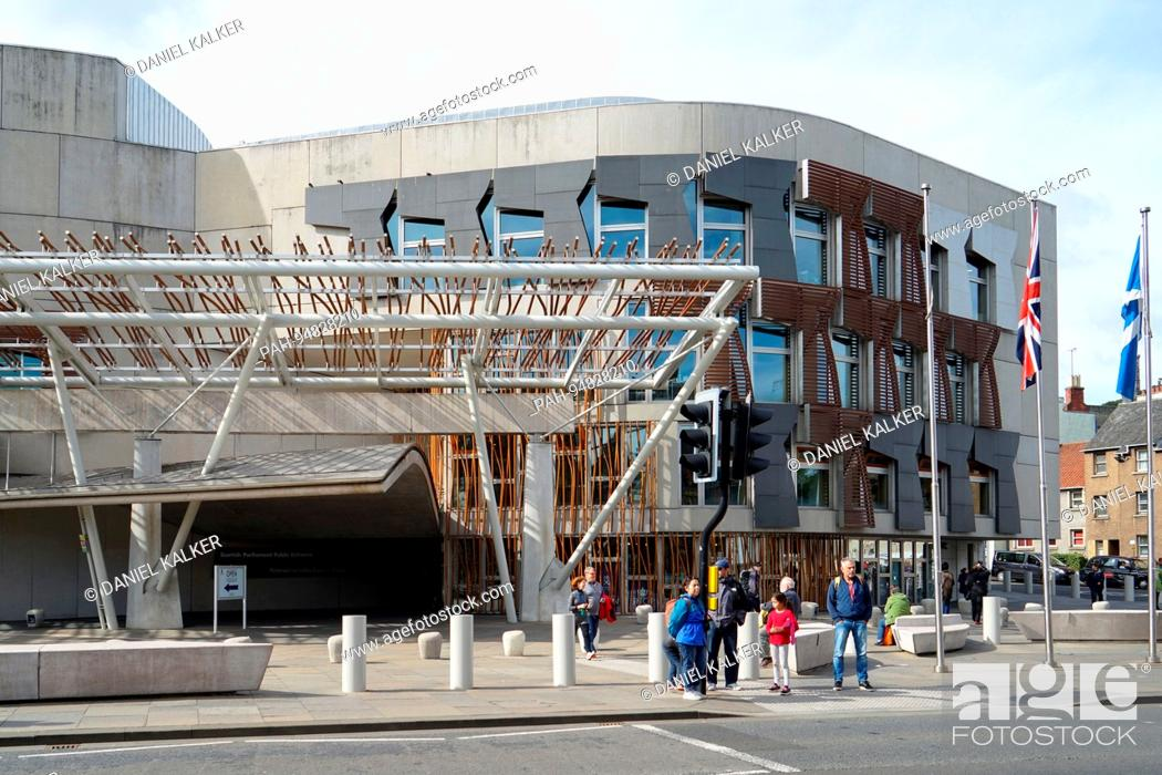 Stock Photo: UK: Frontage of the Scottish Parliament Building in Edinburgh. Photo from 12. September 2017.   usage worldwide. - Edinburgh/Schottland/United Kingdom of Great.