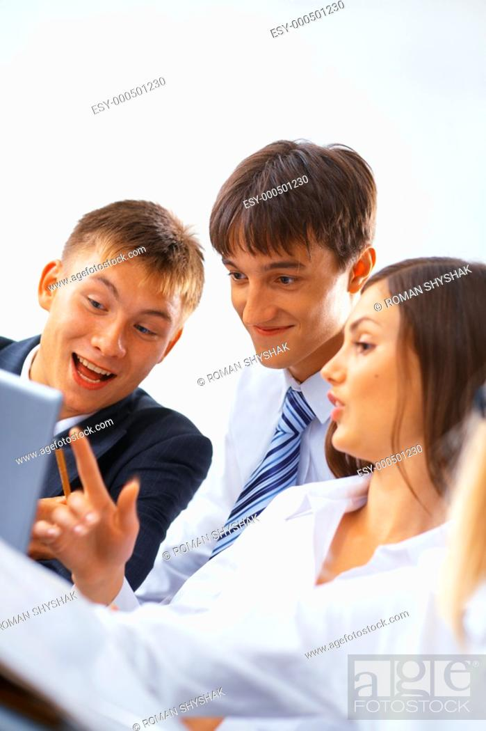 Stock Photo: Portrait of young happy working business team.