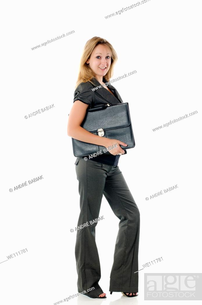 Stock Photo: Young business woman with briefcase.