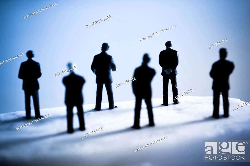 Stock Photo: Men back, silhouettes.