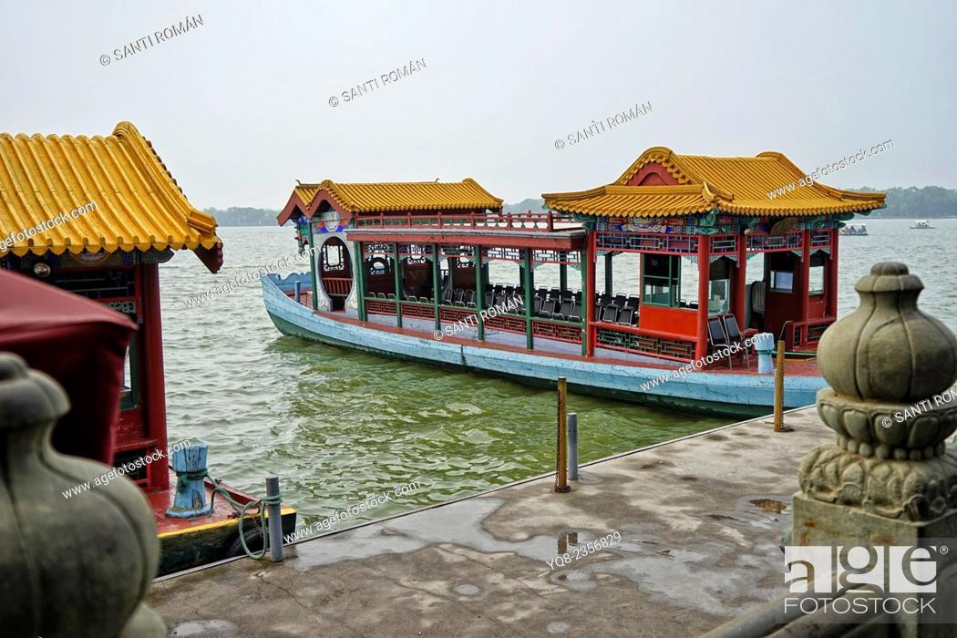 Photo de stock: Asia, Beijing, Peking, China, Heritage, Holiday, Kunming, Lake, Landmark, Qing dynasty, Boat.