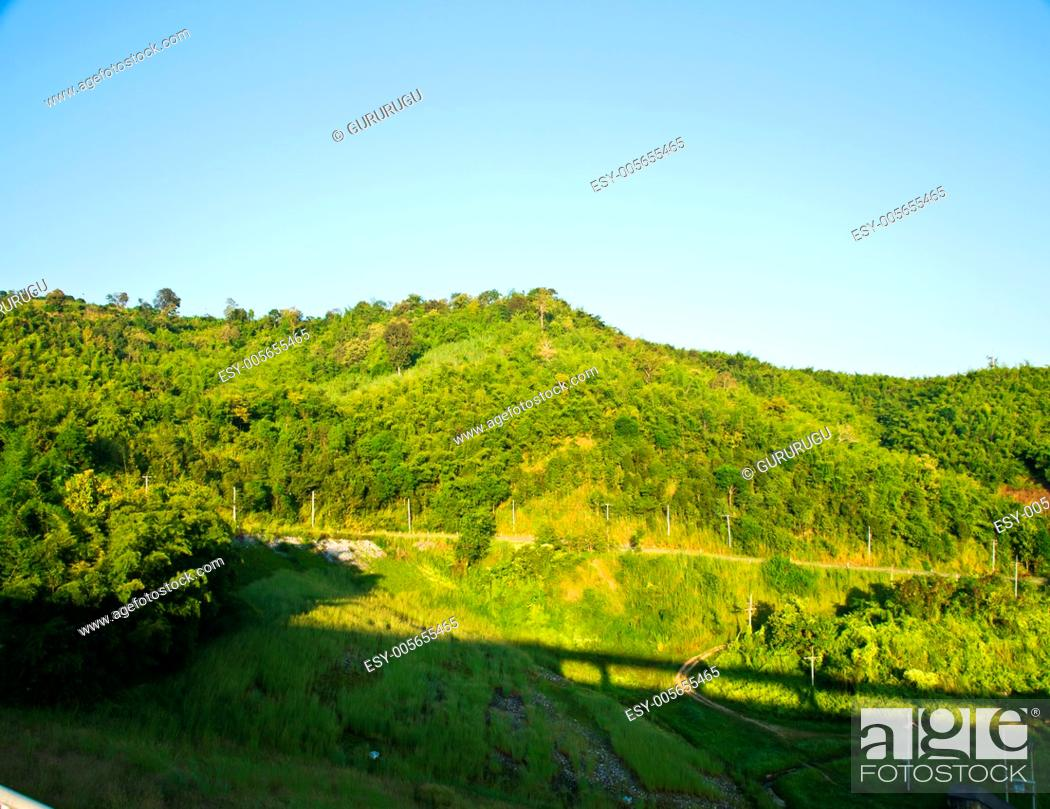 Stock Photo: moutain view nearby Mae Suay reservoir, Chiang rai, Thailand.