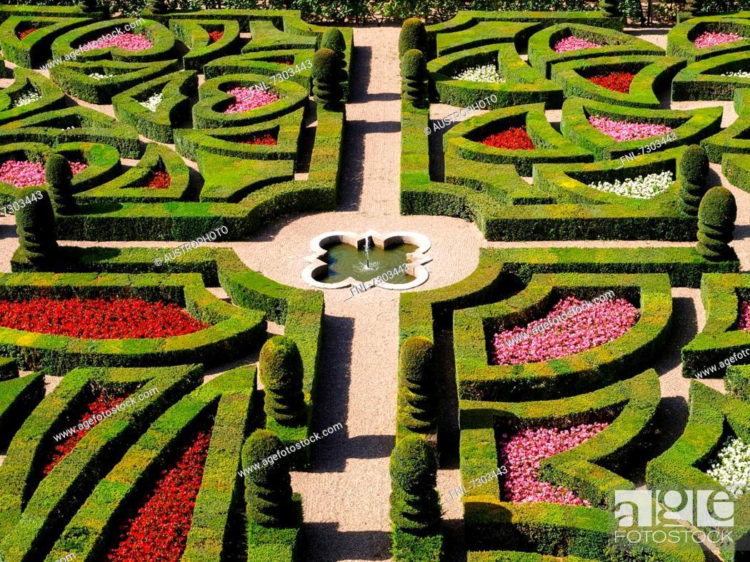 Gardens of the Château de Villandry, Loire Valley, France, Stock ...