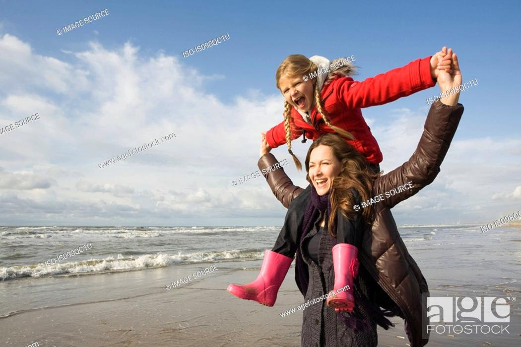 Stock Photo: Mother and daughter by the sea.