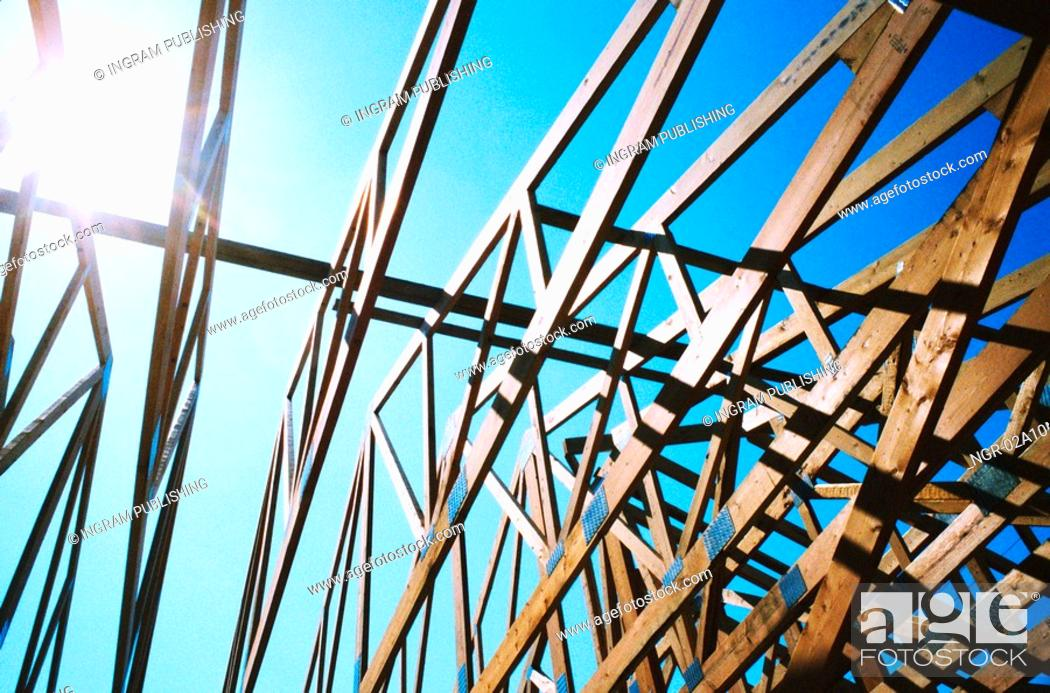 Stock Photo: House Roof Under Construction.