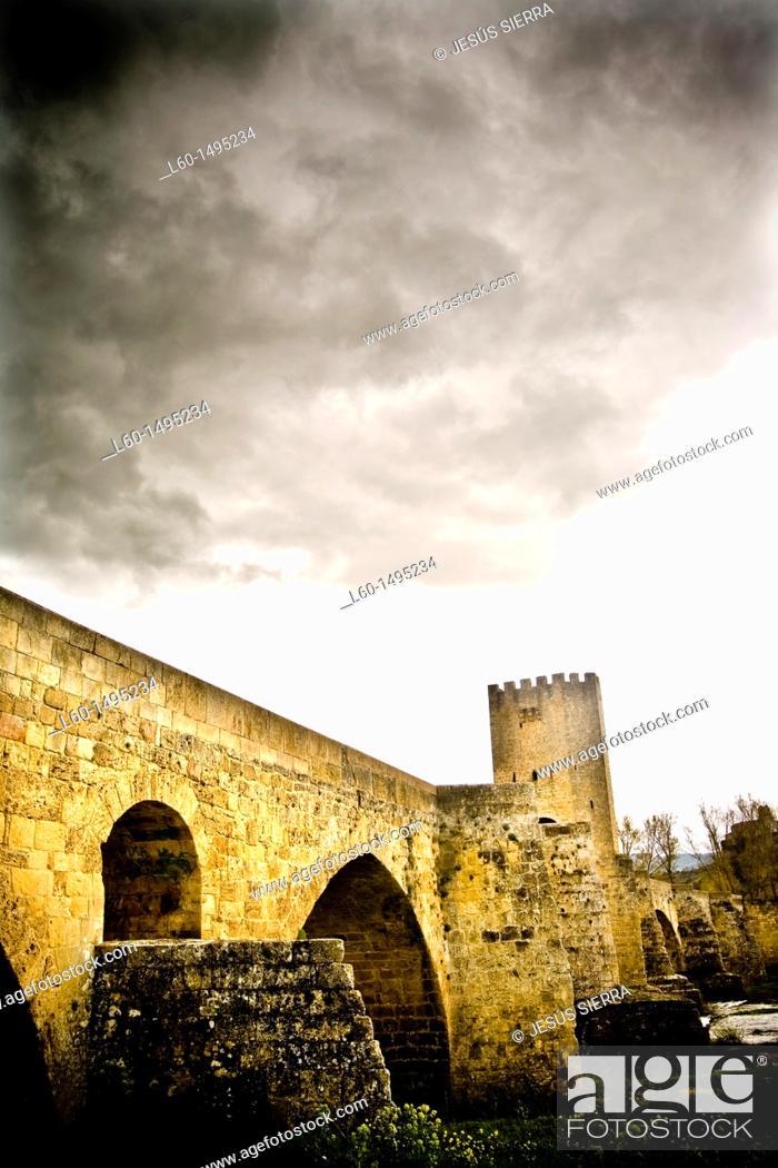 Stock Photo: Bridge in Frías, Burgos province, Castilla León, Spain.