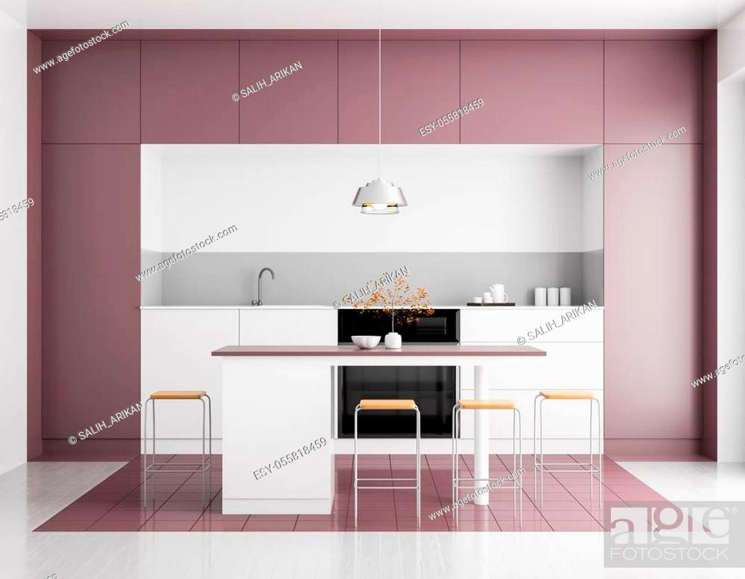 Stock Photo: Modern bright kitchen interior. Minimalistic kitchen design with bar and stools. 3D illustration.