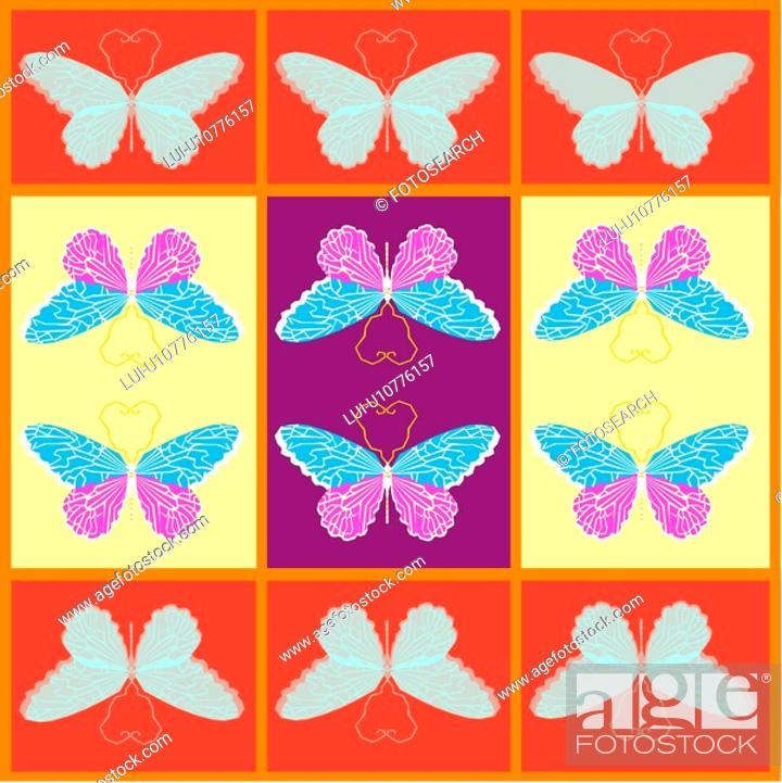Stock Photo: design arts, wallpaper, indoors, background, butterfly, decorative art, pattern.
