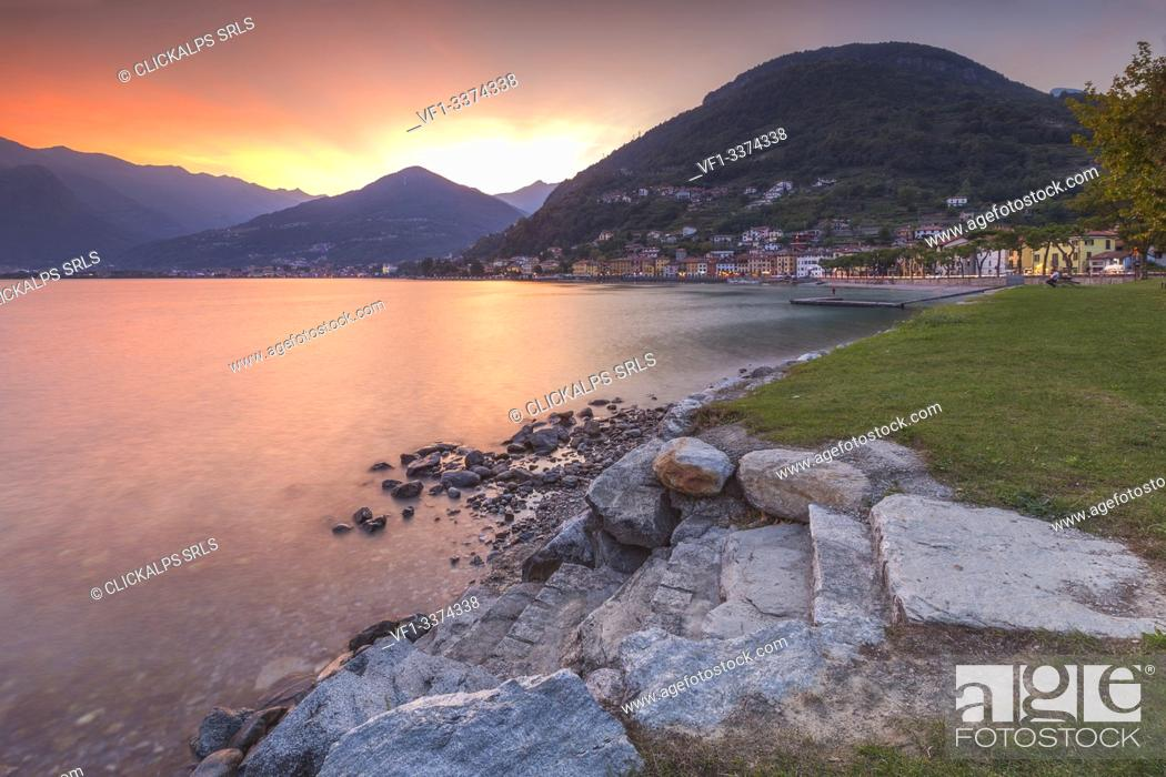 Stock Photo: Sunset on lake Como from Domaso shore, Como province, Lombardy, Italy, Europe.