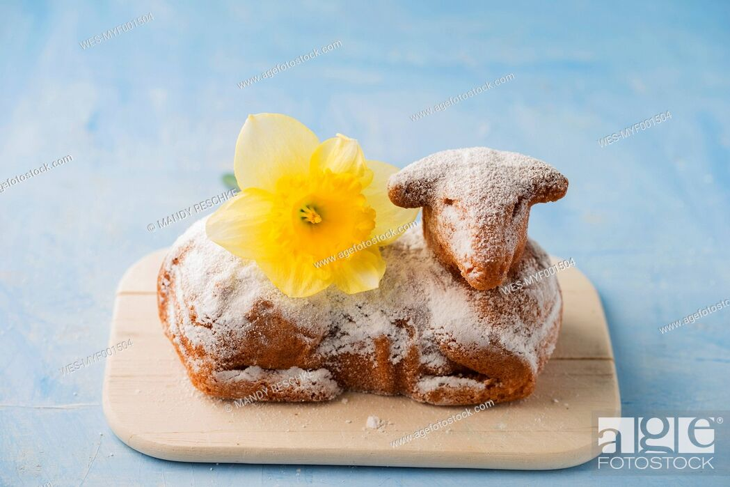 Stock Photo: Easter lamb and daffodil on chopping board.