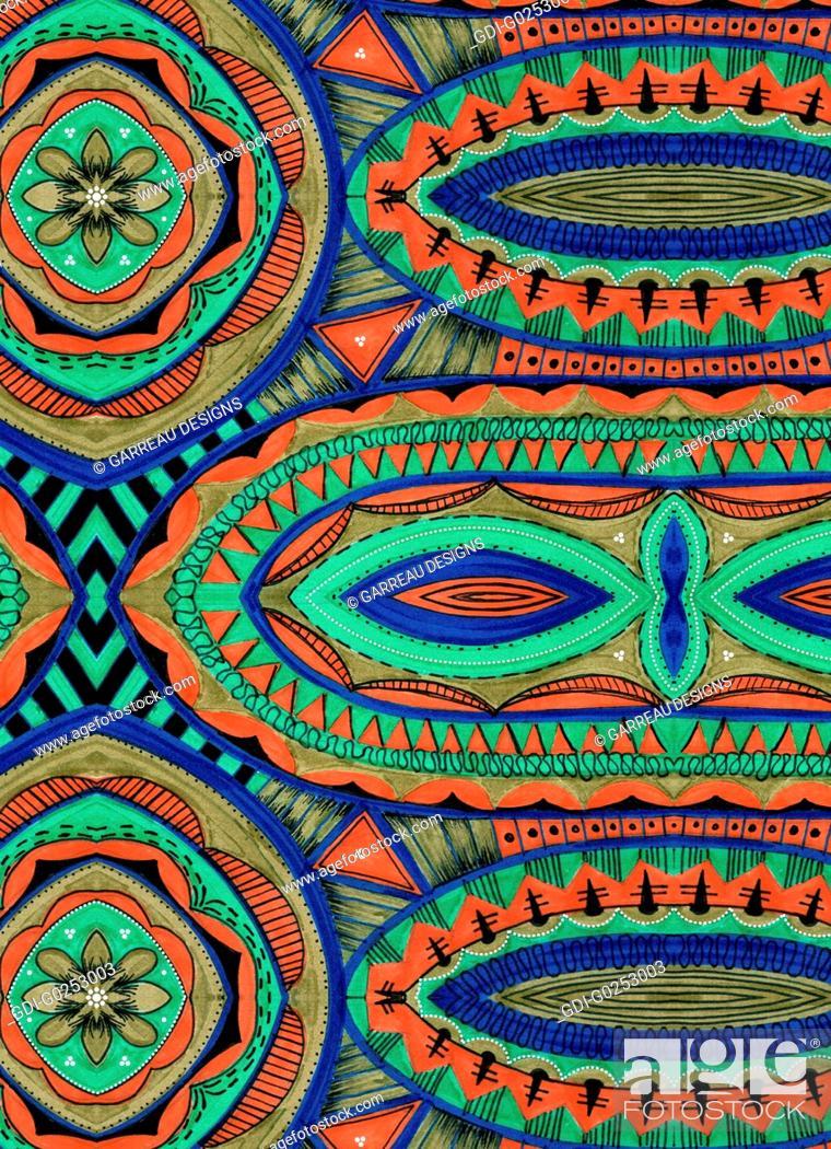 Stock Photo: Colorful tribal design.