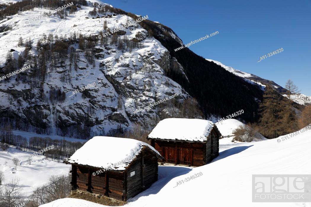Stock Photo: Switzerland, Valais (wallis), val d'herens, Evolene county, La Sage hamlet/Switzerland, Valais (wallis), val d'herens, commune d'Evolene.