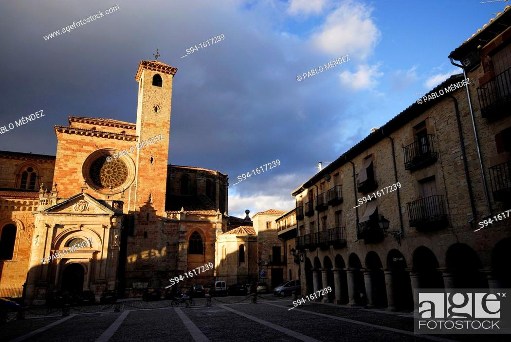 Stock Photo: Medieval necropolis of the cathedral in main square of Sigüenza, Guadalajara, Spain.