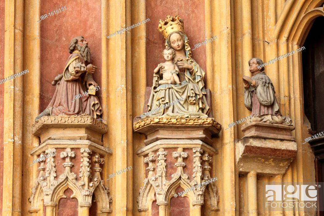 Stock Photo: Adoration of the Magi at the main entrance of Eichstaett Cathedral, Altmuehltal, Upper Bavaria, Bavaria, Germany, Europe.