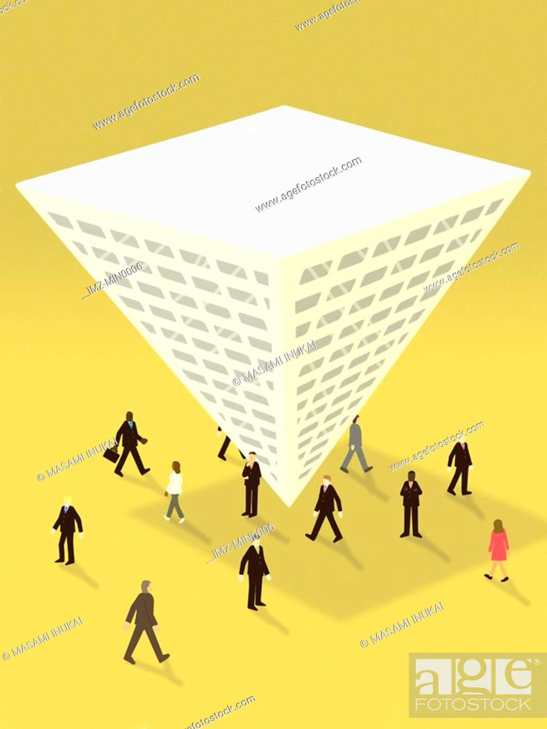 Stock Photo: Business people surrounding an upside down pyramid shaped building.