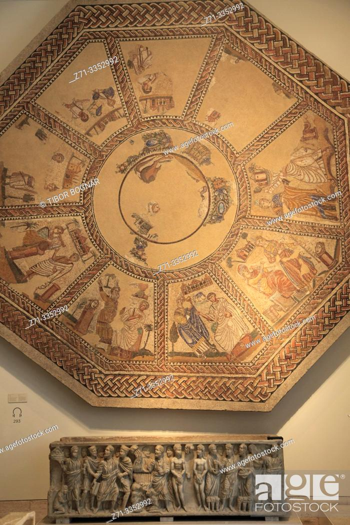 Stock Photo: Spain, Madrid, Archeological Museum, Mosaic of the Muses,.