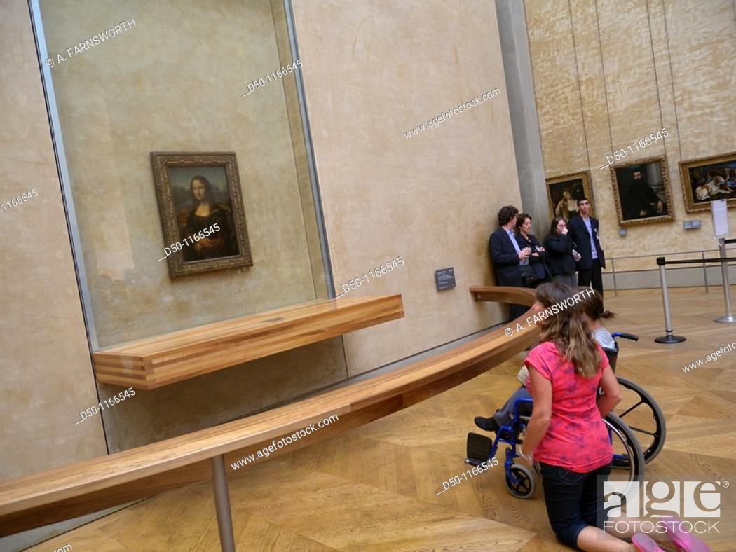 Stock Photo: Louvre Museum, Mona Lisa, Paris, France.