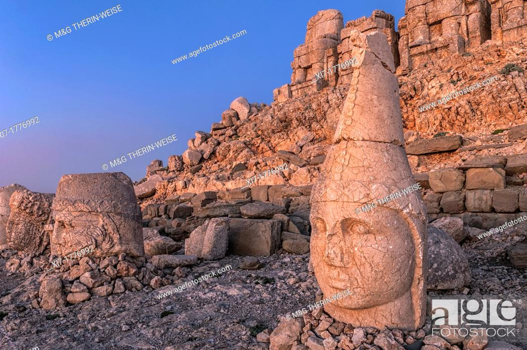 Stock Photo: Mount Nemrut sanctuary, Heads of Antiochus, Zeus and Tyche, Ruins of the Commagene civilization, 1st century B C , Mount Nemrut, Eastern Turkey.