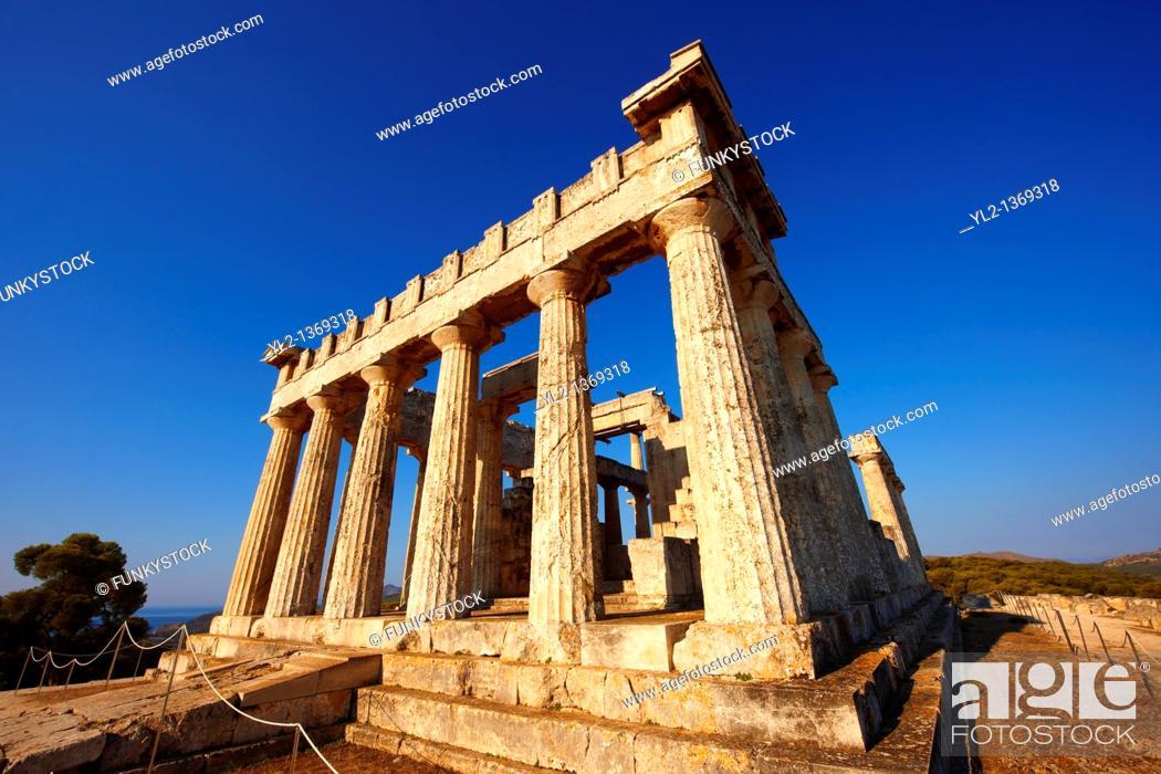 Stock Photo: The Greek Doric Temple of Aphaia 500BC  Aegina, Greek Saronic Islands.