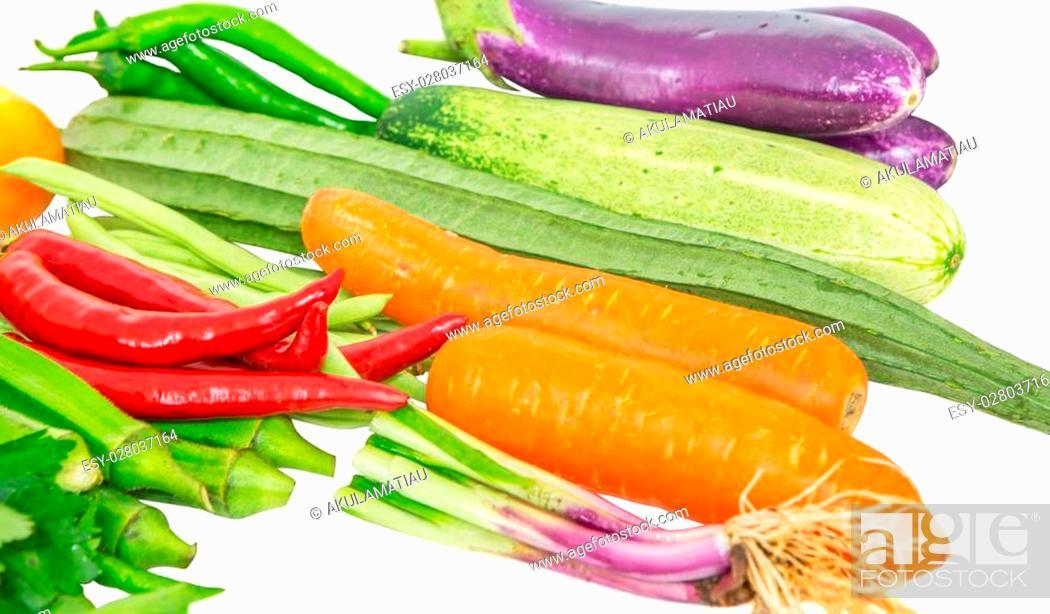 Stock Photo: Vegetables variety over white background.