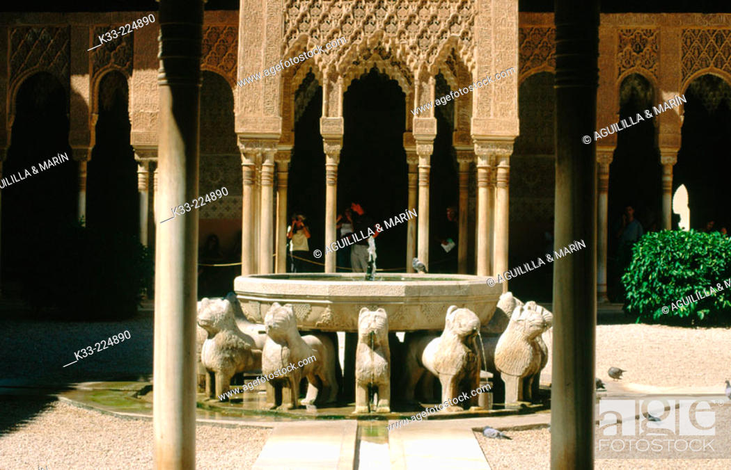 Stock Photo: Court of the Lions in the Alhambra. Granada. Spain.