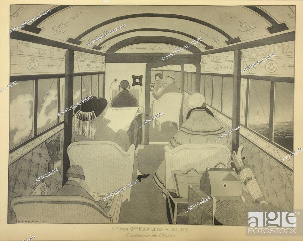 Stock Photo: Estampe montrant l'intérieur d'un avion acommercial destiné au transport des voyagers sur la ligne Paris-Londres. Additional title: Cie des GDS Express Aériens.