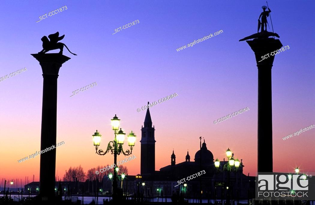 Stock Photo: Italy Venice Piazzetta San Marco at dawn with San Giorgio Maggiore.