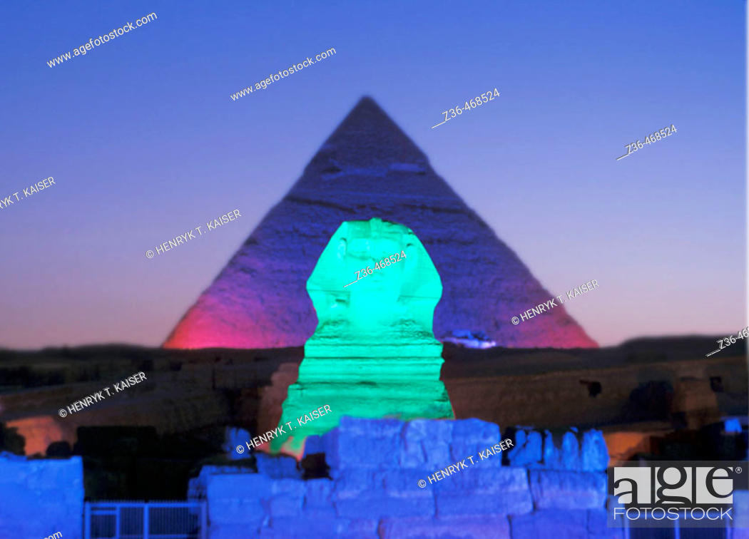 Stock Photo: Night show at Sphinx, Egypt.