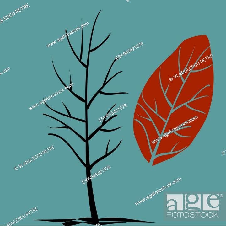 Stock Vector: tree without crown in a late autumn.