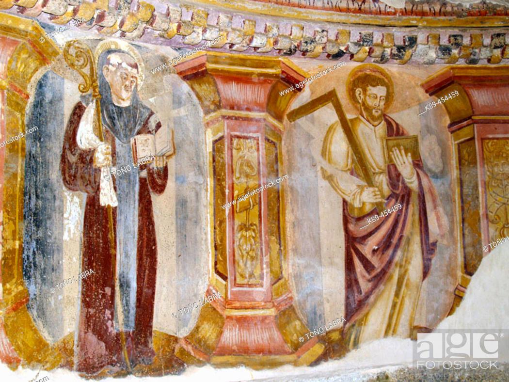 Stock Photo: Frescoes, Santa Cristina de Ribas de Sil monastery. Orense province, Galicia, Spain.